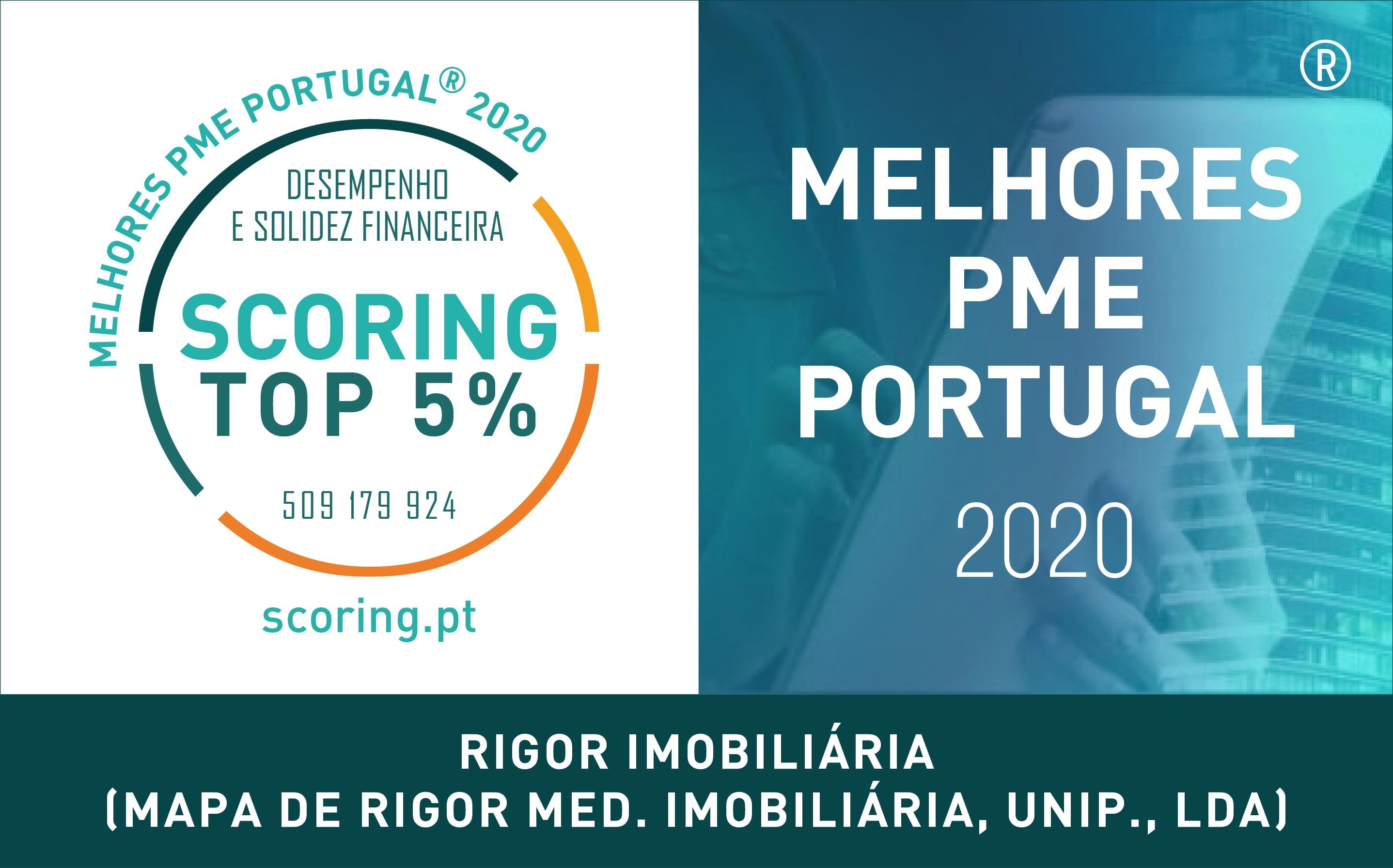 Rigor Imobiliária – Top 5% Melhor PME 2020 by Scoring